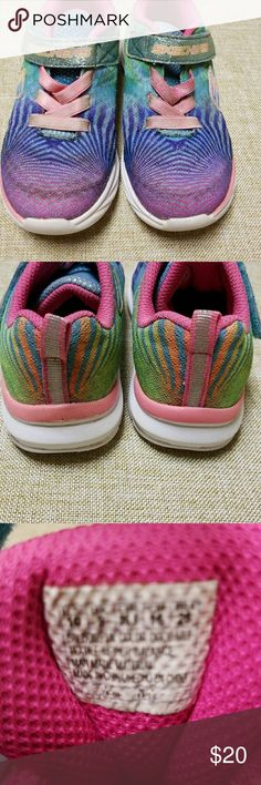 Skechers glitter shoes little girls size 10 Great play shoes tye dye glitter with velcro straps and elastic strings size 10 Skechers Shoes Sneakers
