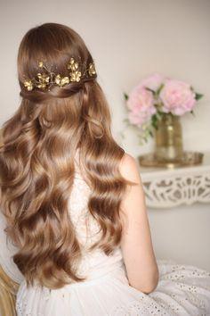 Gold or Silver Flower Headpiece Flower Tiara by AnnaMarguerite