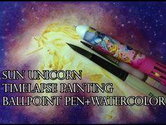 Drawing Time Lapse: Sun Unicorn, Ballpoint Pen+Watercolors