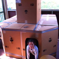 Who among us didn't want a box fort as a kid? Reuse your moving boxes and live vicariously through your kids by building them one! :)
