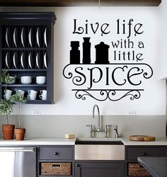 Our vinyl stickers are unique and one of a kind! Every sticker we sell is made per order and cut in house! We make our wall decals using superior quality interior and exterior glossy, removable vinyl Kitchen Wall Decals, Vinyl Wall Decals, Kitchen Board, Chef Kitchen, Kitchen Ideas, Wall Stickers Quotes, Kitchen Quotes, Logo Restaurant, Restaurant Ideas