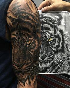 Znalezione obrazy dla zapytania geometric tiger tattoo
