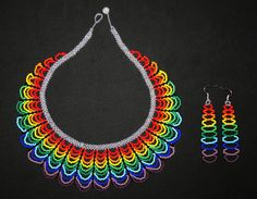 Rainbow Necklace with Earrings Traditional от BiuluArtisanBoutique Seed Bead Necklace, Seed Bead Bracelets, Seed Bead Jewelry, Bead Jewellery, Beaded Jewelry, Bracelet Crafts, Jewelry Crafts, Jewelry Patterns, Beading Patterns