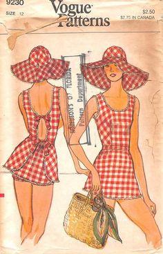 VOGUE 9230 - FROM 70S - UNCUT - MISSES SWIMSUIT WITH BRIEFS & HAT
