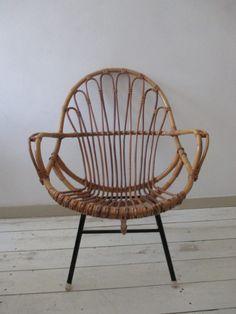Oude rotan stoel vintage