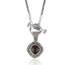 Sara Blaine Sterling Silver and 18k Gold Smoky Topaz Pendant and Toggle Necklace (899XPNST/9902)