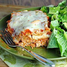 Buffalo Chicken Lasagna...under 350 calories per slice!