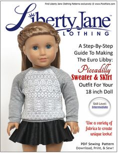 Raglan Sweater and Skater Skirt Bundle 18 inch Doll Clothes Pattern | Pixie Faire