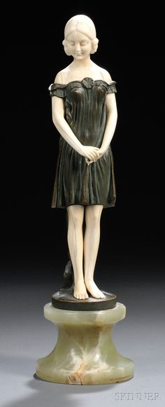 After Peter or Paul Tereszczuk (Austrian, Late 19th/Early 20th Century)       Bronze and Ivory Figure of a Girl