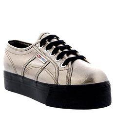 Superga 2790 Metallic Womens Canvas Platform Trainers Grey Black - 35.5 EU - http://on-line-kaufen.de/superga/35-5-eu-superga-2790-cotmetw-damen-sneaker-3