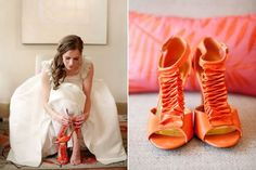 orange heels for bridal | Orange""