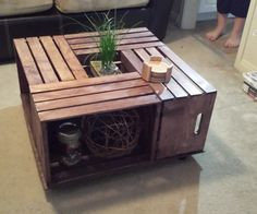 Items similar to Wood-Stained Wine Crate Coffee Table on Etsy Wooden Crate Coffee Table, Build A Coffee Table, Coffee Table Furniture, Rustic Coffee Tables, Coffee Table Design, Crate Desk, Office Furniture, Furniture Sets, Wine Crate Table