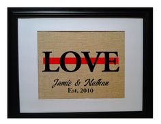Firefighter Love Thin red Line Fireman Family by BeanTownBurlap