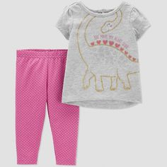 Baby Girls' Dino Leggings Set - Just One You made by carter's Grey/Pink Newborn Color: Purple. Baby Girls' Dino Leggings Set - Just One You made by carter's Grey/Pink Newborn Purple New Outfits, Kids Outfits, Cute Outfits, Carters Baby Clothes, Babies Clothes, Grey Pants Outfit, Sonus Festival, Toddler Girl Outfits, Toddler Girls