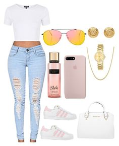 """Untitled #318"" by raevynn324375 on Polyvore featuring Topshop, adidas, Victoria's Secret, Versace, Invicta and Michael Kors"