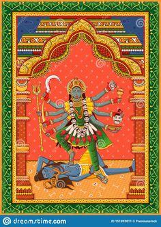 Hinduism Symbols, Hinduism History, Indian Goddess Kali, Durga Goddess, Kali Hindu, Hindu Art, Vector Clipart, Vectors, Kali Dance