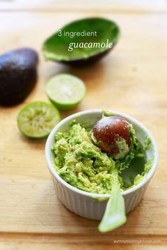 Guacamole can be a quick snack if you use one avocado, 1 lime, and garlic salt. Mix all the ingredients in a bowl and enjoy.