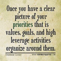 goal quotes, priorities quotes, Stephen Covey quotes