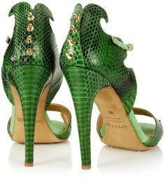 Aperlai Green Snakeskin Cutout Stilettos €705 #Shoes #Heels #Sandals
