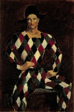 """Harlequin"" by Christopher Wood, 1925 (oil on board)"