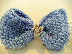 Baby's Large Blue Knit Bow Flower Crystal by SnugglebuggKnit