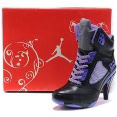 http://www.asneakers4u.com/ Air Jordan 5 High Heels Women Purple Black