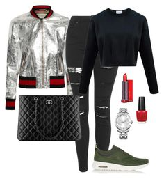 """""""Gucci"""" by amuramasri on Polyvore featuring Gucci, Topshop, NIKE, Chanel, OPI and Calvin Klein"""