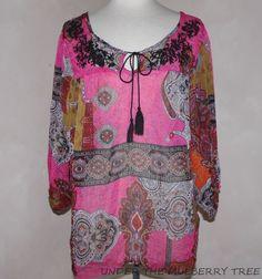 ONE WORLD M Tunic Top Shirt Blouse Sheer Polyester 3/4 Sleeves Coverup Boho Art    eBay