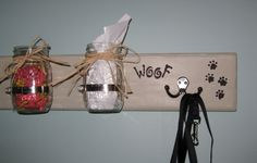 """Shabby Chic Hand Crafted Custom Dog treat/Doggie Bag/Dog Leash Holder 21"""" x 5 1/4"""" x 1"""" comes in white, robins egg blue, sage green, vintage green, gold, barn red, black and driftwood stain     $34.99  Dog Leash,Treats Not Included"""