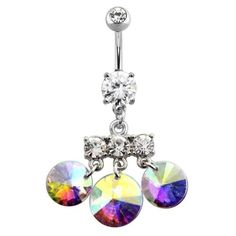 Triple-CZ-Dangle-Double-Prong-Set-316L-Surgical-Steel-Navel-Ring