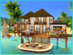 This is a cozy beach family home featuring 5 bedrooms and 4 bathroom, there is a specific bedroom for each life stage(except babies). It has an open Kitchen and dining area, a comfy living room and. Sims 4 House Plans, Sims 4 House Building, Minecraft Beach House, Minecraft Houses, Small Beach Houses, The Sims 4 Lots, Sims 4 House Design, Casas The Sims 4, Sims 4 Build