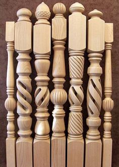me ~ Lepcsokorlat kezdo oszlopok 007 Wooden Staircase Railing, Interior Stair Railing, Stair Railing Design, Wood Furniture Legs, Wood Table Legs, Wooden Front Door Design, Wood Design, Pooja Room Door Design, Wood Turning Projects