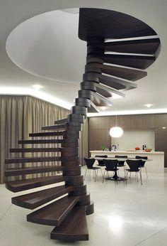 Villa Moerkensheide , De Pinte, 2013 - Dieter De Vos Architecten #stairs #helix #interiors #staircase