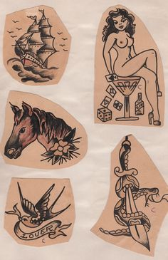 Tattoo Peter flash 1940s Traditional Tattoo Inspiration, Traditional Tattoo Flash, Traditional Tattoo Old School, Traditional Tattoo Design, Vintage Tattoo Art, Vintage Tattoo Design, Sailor Jerry Tattoo Flash, Sailor Jerry Tattoos, Dragon Tattoo Back Piece