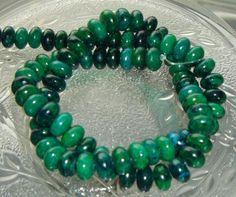 Full Strand Chrysocolla Azurite 8X5mm Smooth Rondelle Gemstone Beads
