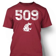 Reppin the 5-0-9!!! The Washington State University Cougars Area Code Tee is a great way to show your Palouse pride! It features the 509 area code for Eastern Washington with a WSU logo below the numbers. It is 100% cotton and the graphics are printed on the front.  T-Shirts are high quality 100% heavy-weight, double-stitched, pre-shrunk cotton. Printed in the USA. Trademarks used with permission.