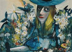 Alice Amongst Flowers (1958) by Charles Blackman.