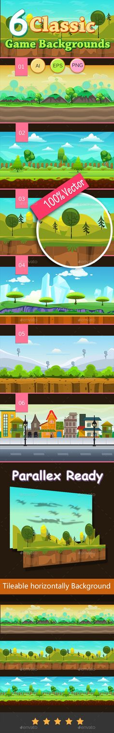 6 Classic Game Backgrounds — Vector EPS #game #side-scroller • Available here → https://graphicriver.net/item/6-classic-game-backgrounds/9939278?ref=pxcr