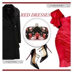 """Red Dress"" by irena123 ❤ liked on Polyvore featuring Temperley London, Christian Louboutin, Alexander McQueen, women's clothing, women, female, woman, misses and juniors"