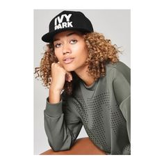 Logo Snapback Cap by Ivy Park (40 CAD) ❤ liked on Polyvore featuring accessories, hats, black, snapback hats, snapback cap, cotton logo hat, brimmed hat and snap back cap
