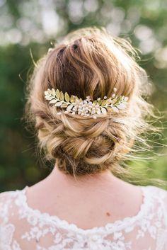 Gold Leaf Hair Comb Bridal Hair comb gold by ABitofLoveWedding