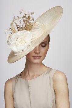 Juliette Botterill Millinery | Feather Flower Side Sweep | Natural and Wide Brim Hats | LOVEHATS.COM