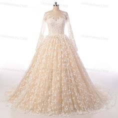 Beige ivory wedding dress lace long sleeves par customdress1900