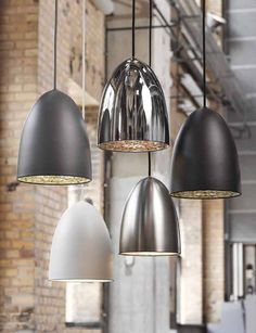 Modern Metal Pendant Ø 200mm - available in 5 different finishes with a stylish diffuser