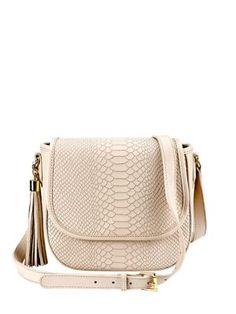 GIGI NEW YORK Kelly Python-Embossed Leather Saddle Bag. #giginewyork #bags #shoulder bags #leather #crossbody #