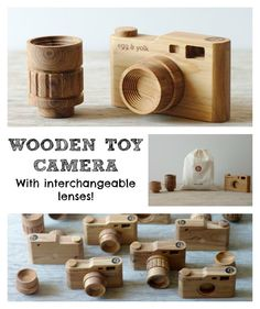 I fell in love with this and thought it was too good not to share! I know my children would love this beautiful wooden toy camera! It even has interchangeable lenses! Diy Wood Projects, Projects For Kids, Diy For Kids, Wood Crafts, Fun Crafts, Woodworking Projects, Wooden Camera, Toy Camera, Natural Toys