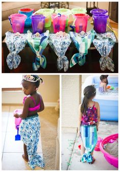 Make mermaid tails out of kitchen towels. Under the Sea/ Little Mermaid Birthday Party