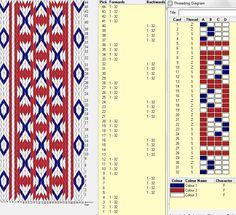 Diseño 32 tarjetas, 3 colores  // sed_57 ༺❁ Inkle Weaving, Inkle Loom, Card Weaving, Weaving Art, Tablet Weaving Patterns, Weaving Textiles, Loom Patterns, Cross Stitch Patterns, Iris Folding Pattern