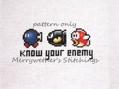 Super Mario - Know Your Enemy - Cross Stitch PATTERN. $3.00, via Etsy.