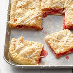 """Slab pie"" is a pastry baked in a jelly-roll pan and cut in slabs like a bar cookie—or a pie bar, if you will. My grandfather was a professional baker and served pieces of slab pie to his customers … Rhubarb Desserts, Köstliche Desserts, Dessert Recipes, Pie Recipes, Raspberry Rhubarb Pie, Rhubarb Rhubarb, Potluck Recipes, Rasberry Desserts, Rhubarb Cookies"